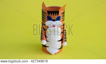 Diy A Tiger From A Toilet Paper Sleeve For The Chinese New Year. Create Paper Crafts For Children.