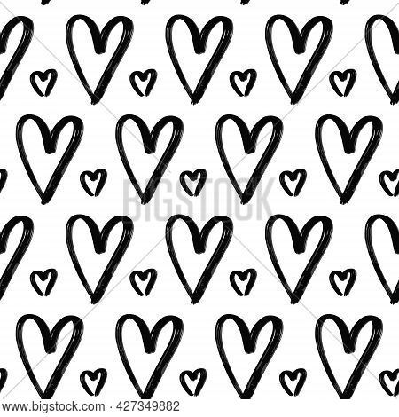 Grunge Hand Drawn Hearts Seamless Pattern. Textured Black Ink Paintbrush Cute Heart Shapes Vector Ba