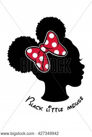 Black Afro African American Little Girl Vector Portrait Profile Head Face Silhouette,natural Curly W