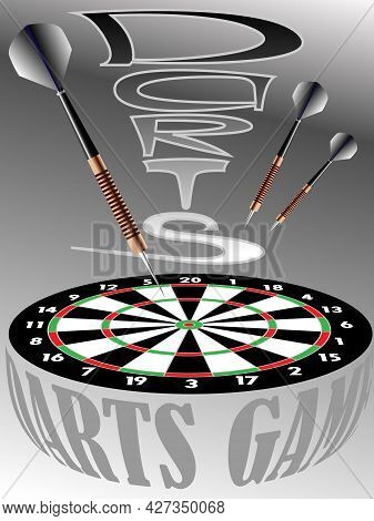 Vector Illustration With The Image Of A Dart Board And Darts In Vintage Style For Prints On Banners,
