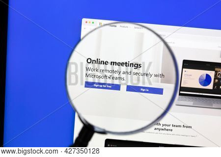 Ostersund, Sweden - April 13, 2021: Microsoft Teams website on a computer screen. Teams is a unified team communication and collaboration platform with workplace chat, video meetings.