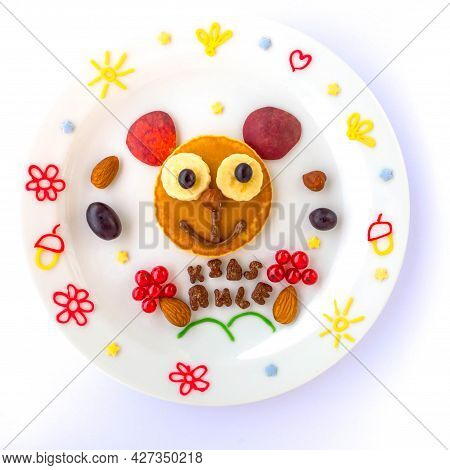 Edible Mouse Or Bear Made Of Pancake With Grapes, Apricot And Currant For Kids. Plate With Funny Pan
