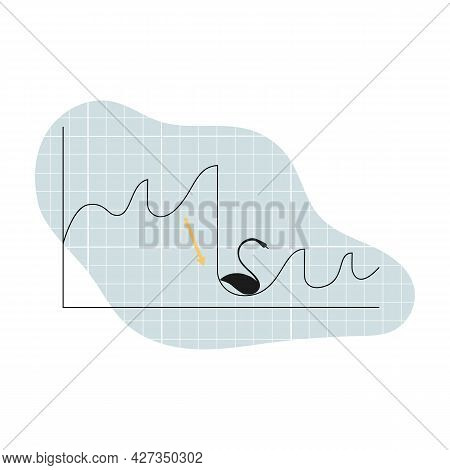 Simple Vector Stocks Graph With Economic Decline. Black Swan Like Unforseen Cause. Illustration For