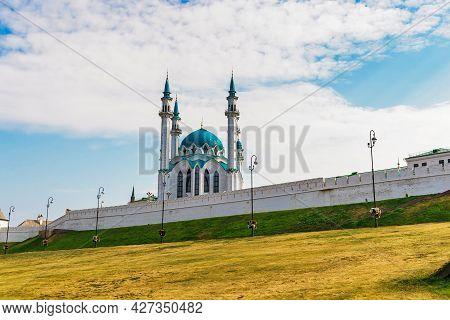 Kul Sharif Mosque In The Kazan Kremlin On A Sunny Summer Day