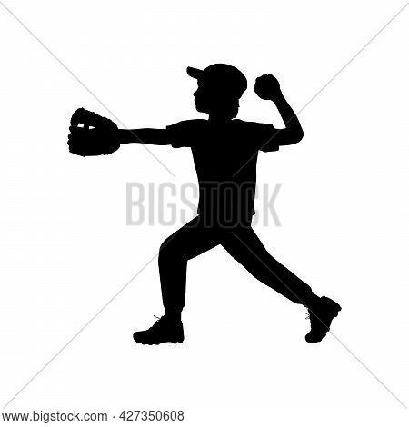 Silhouette Boy Baseball Pitcher Throwing The Ball. Symbol Sport. Illustration Icon Logo