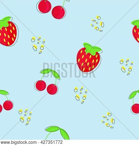 Strawberry And Cherry Patterns Seamless, Red Strawberry, Red Cherry On A Blue Background. Vector Ill