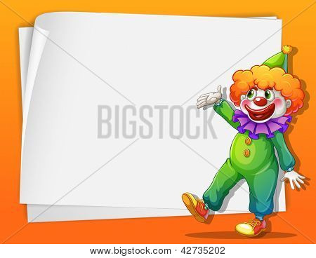 Illustration of a clown beside an empty space