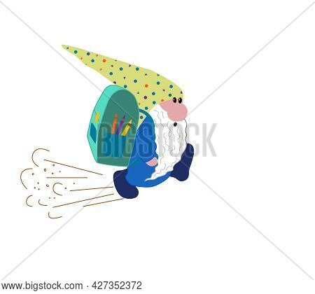 A Funny Scandinavian Gnome With A Backpack Runs To School.  Vector Illustration On The Topic Of Lear