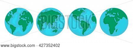 Four Different Views Of The Planet Earth. Different Continents On The Globe. Set Of Planets. Vector