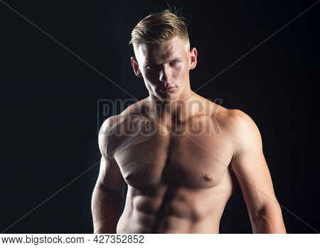 Naked Man Bare Torso. Nude Male Abs. Sexy Muscular Guy. Topless Muscular Fitnes Model Body.