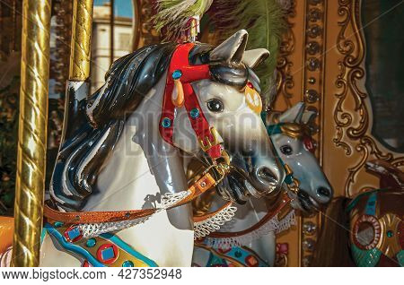 Colorful Detail Of Horses On Carousel At Sunset In The City Of Florence, The Famous And Amazing Capi