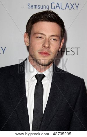 LOS ANGELES - FEB 27:  Cory Monteith arrives at the PaleyFest Icon Award 2013 at the Paley Center For Media on February 27, 2013 in Beverly Hills, CA