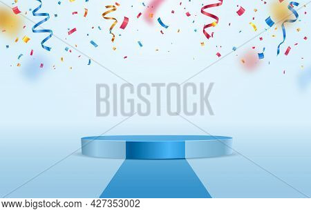 Blue Stage Podium With Falling Down Colorful Confetti On Light Background. Winner Congratulations Pe