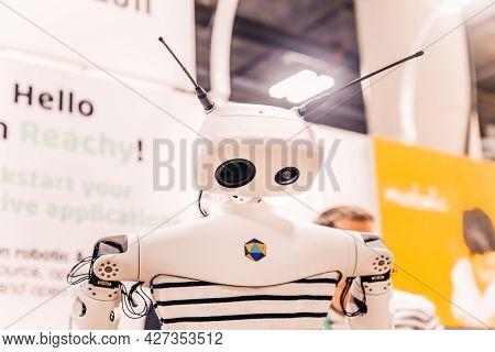 Las Vegas, Usa - January 8, 2020: Stylish Sad Robot Mascot Character Bowed Head. Friendly Cool Andro