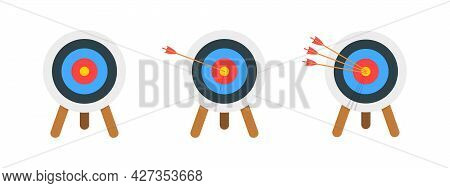Archery Target Ring With And Without Arrows Hitting Bullseye. Dartboard On Tripod Isolated On White