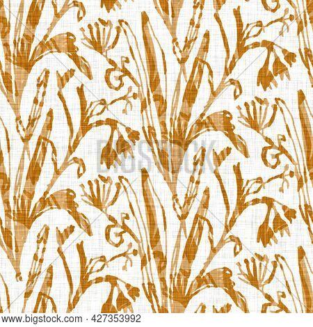 Hand Drawn Flower Motif Linen Texture. Whimsical Garden Seamless Pattern. Modern Spring Doodle Flora
