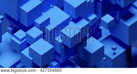 Blue Random Shifted Isometric Cube Or Boxes Background, 3d Illustration