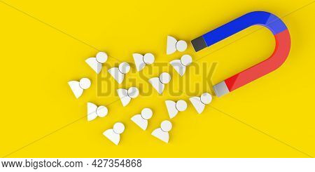 Magnet Attracting White Figures On Yellow Background, Business Marketing, Client, Customer Or Sales