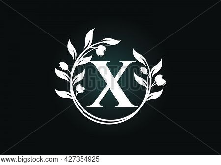 Initial Letter X Sign Symbol With Olive Branch Wreath. Round Floral Frame Made By The Olive Branch.