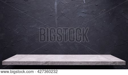 Abstract black background texture and shelf at wall. Book shelf at dark wall background surface