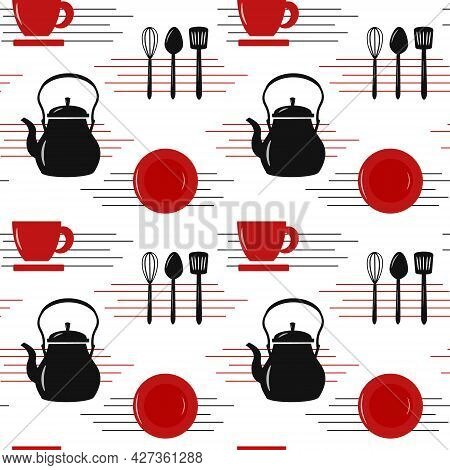 Cutlery Pattern - Teapot, Cup, Kitchen Tools. Vector Illustration. For The Menu, Cafes And Restauran
