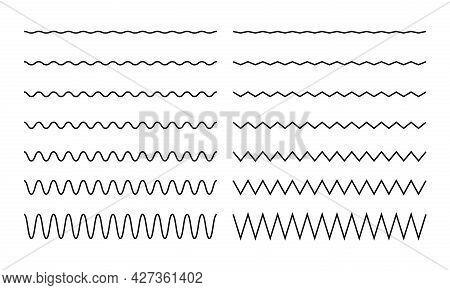 Wave, Zigzag, Wiggle Line Stroke For Divider, Border Design. Curve Brush Stroke. Vector Illustration