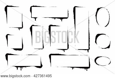 Stencil Spray Paint Frame Set. Grunge Graffiti Style Black Frame. Isolated Vector Illustration With