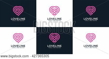 Love Heart Monogram Romantic Logo Collection. Logo Can Be Used For Icon, Brand, Identity, Store, Lin
