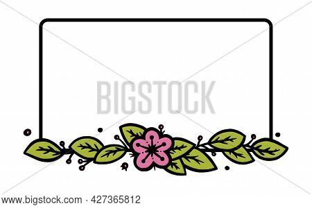 Rustic Wreath Divider With Handdrawn Flowers. Rectangle Doodle Wreath. Doodle Vector Illustration Is
