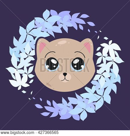 Childish Illustration Of A Little Lovely Kitten In Plant Wreath On Dark Blue Background. Cute Baby A