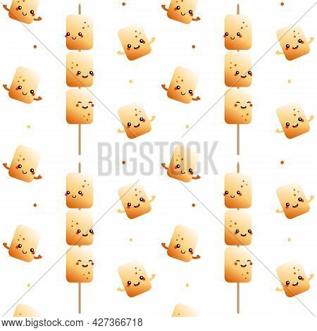 Cute Cartoon Style Golden Brown Toasted Marshmallow Characters On Stick, Skewer And Dots Vector Seam