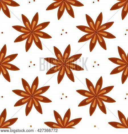 Cute Cartoon Style Star Anise And Dots Vector Seamless Pattern Background For Spice And Condiments D