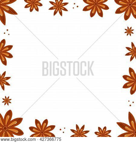 Cute Doodle Style Star Anise, Badian Vector Square Frame, Border For Condiment, Spicy Food Design.