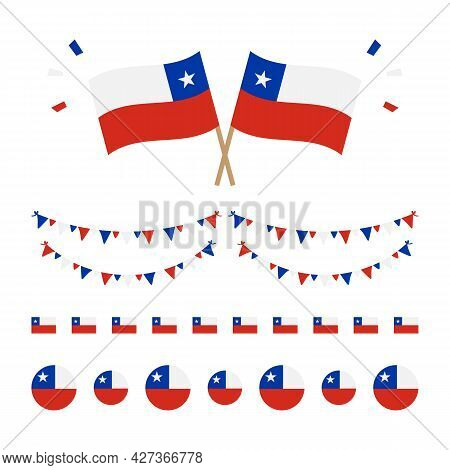 Set, Collection Of Chile Flags And Decorations For National And Public Holidays, Independence Day.