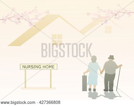 An Elderly Couple Is Entering A Nursing Home With A House And Pink Sky In The Background.