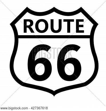 Us Route 66 Sign. Shield Sign With Route Number And Text Symbol. United States Numbered Route. Flat