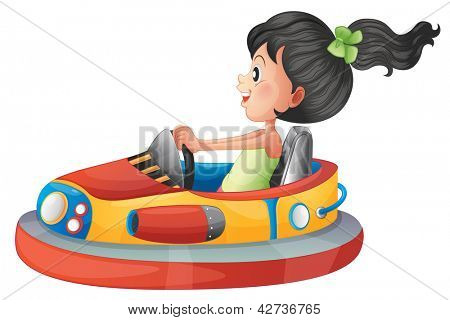 Illustration of a girl driving the bumpercar on a white background