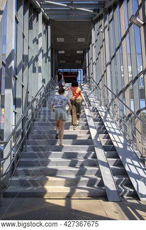 Belgorod, Russia - July 08, 2021: Entrance To The Pedestrian Crossing Over Bogdan Khmelnitsky Avenue