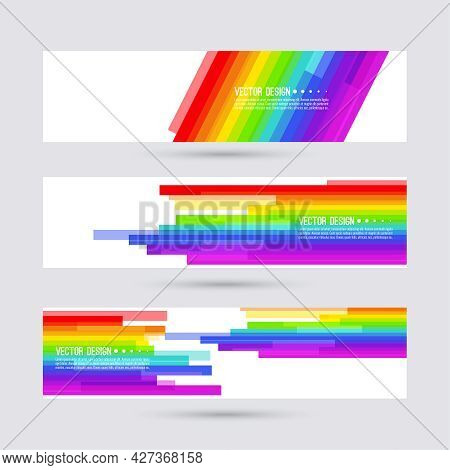 Vector Abstract Colorful Spectrum Background. Lgbt Pride Symbol. Set Of Rainbow Multicolored Banners