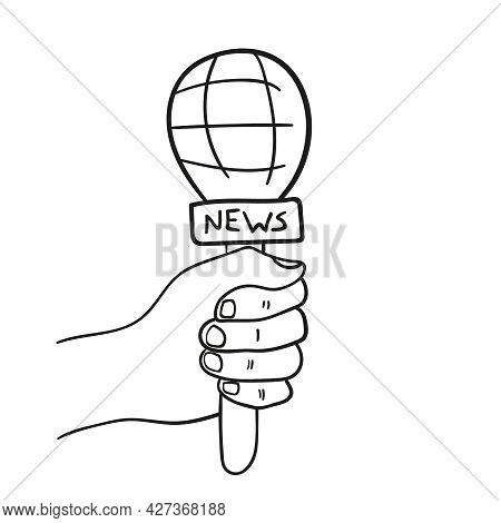 Live News Template With Microphone In Doodle Style. Hand Drawn Symbol Breaking News On Tv Radio. Jou