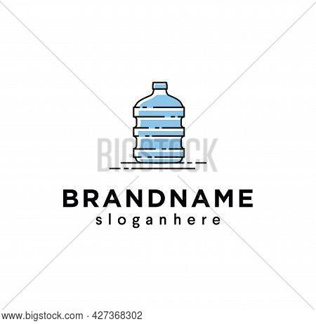 Big Blue Plastic Bottle Fresh Logo Potable Water Design Illustration. Large Plastic Bottles Of Clean