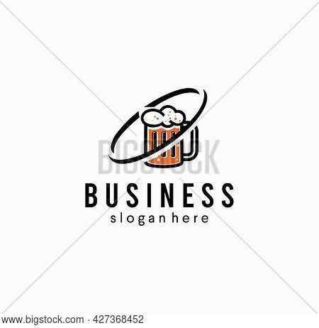Beer Glass Logo Alcohol Pub Label. Bar Brewery Vector Design Logo Icon Mug Drink Symbol Beverage.