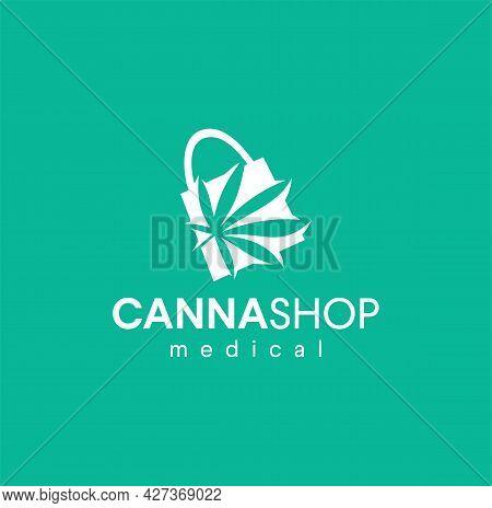 Medical Cannabis Shop Logo Emblems Label Design Vector Illustration. Medicine Store Market Leaves Ma