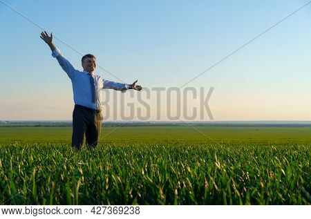 businessman poses in a green field, freelance and business concept, green grass and blue sky as background