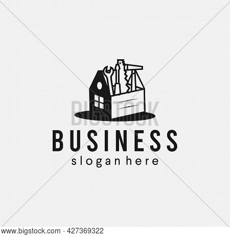 House Service Toolbox Logo Icon Illustration. Home Service Repair And Real Estate Builder Logo Desig