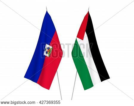 National Fabric Flags Of Palestine And Republic Of Haiti Isolated On White Background. 3d Rendering