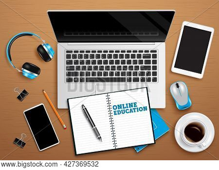 Online Education Vector Design. Online Education Text With Laptop, Notebook And Tablet Distance Lear