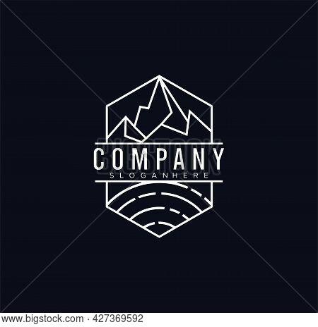 Mountain Outdoor Logo Geometric Outline Line Art Logo Design Illustration Silhouette . Vintage Retro
