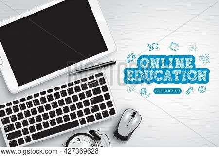 Online Education Vector Design. Online Education Text With Tablet, Keyboard And Mouse E-learning Dev
