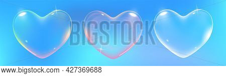 Set Of Realistic Transparent Pink, Rainbow And White Vector Soap Bubbles Shaped As Heart. Romantic G